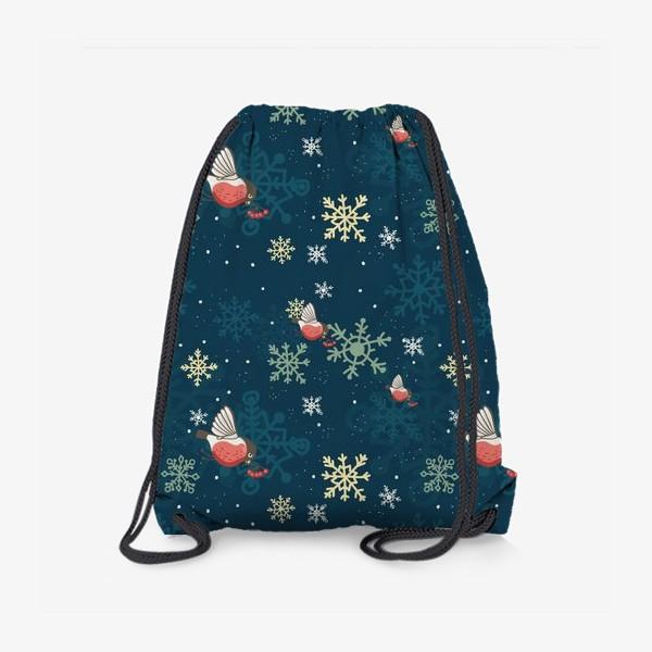 Рюкзак «Рождественский узор со снежинками и птичками»