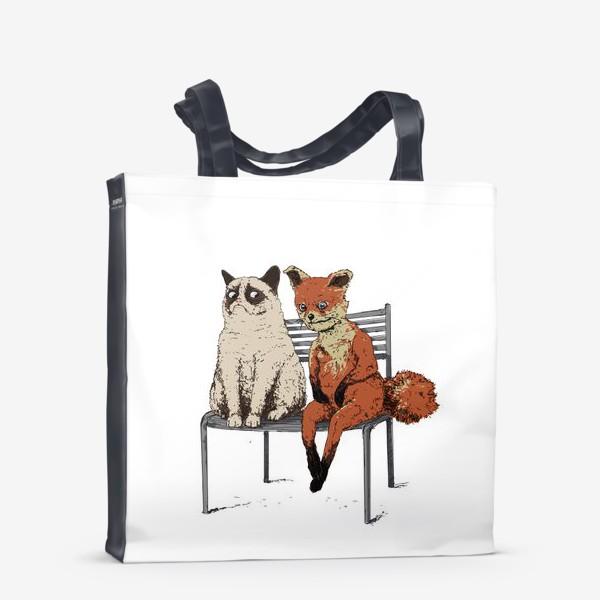 Сумка-шоппер «Угрюмый кот и упоротый лис»