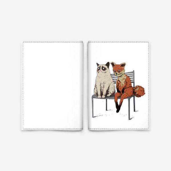 Обложка для паспорта «Угрюмый кот и упоротый лис»