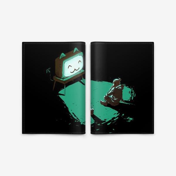 Обложка для паспорта «Кот-телевизор»