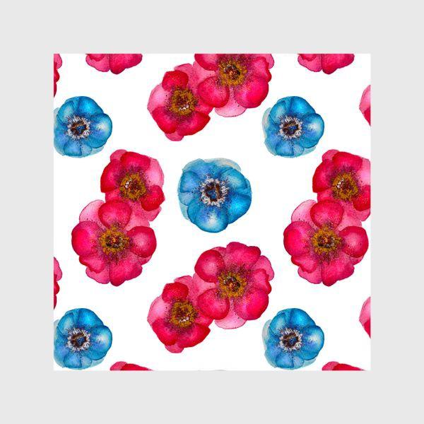Шторы «Розовые и голубые анемоны»