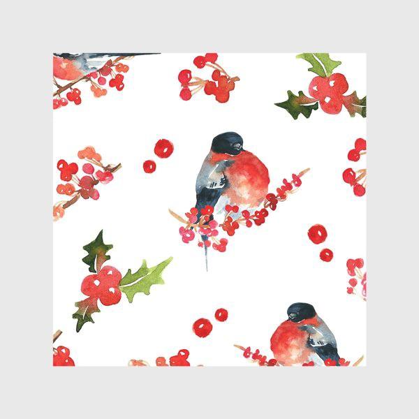Скатерть «Пузатые снегири с красными ягодами»