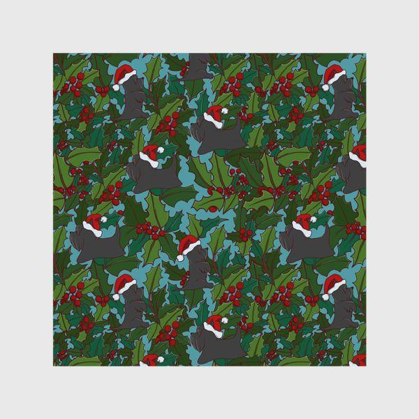Шторы «Рождественский паттерн с Шотландскими терьерами»
