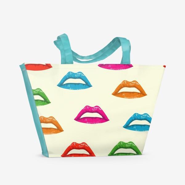 Пляжная сумка «bright lips»