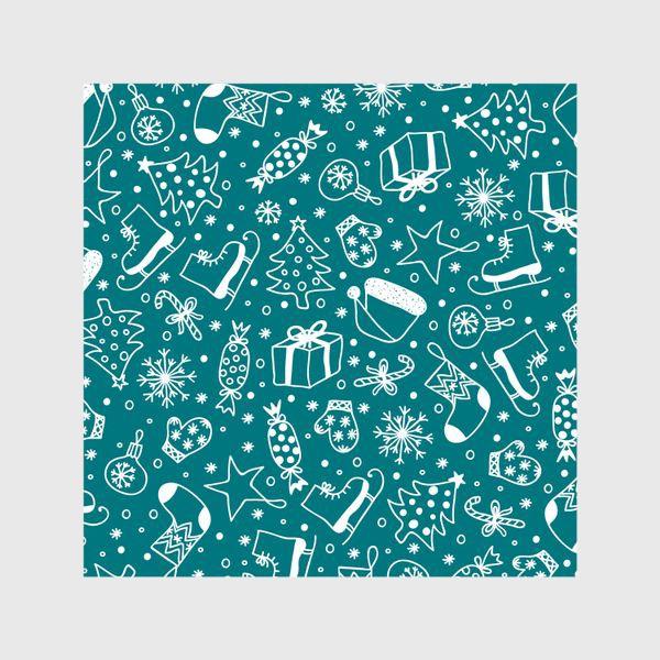 Шторы «Blue Christmas Pattern»