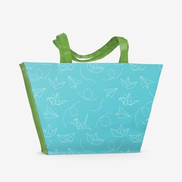 Пляжная сумка «Самолетики, кораблики, журавлики (оригами)»