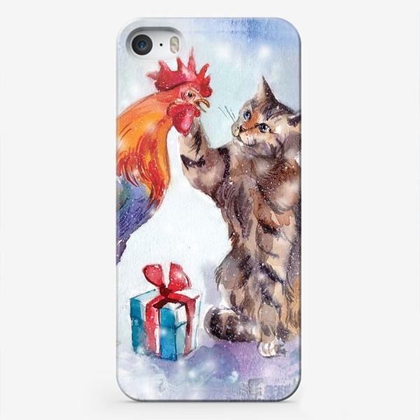 Чехол iPhone «Петух и кот»