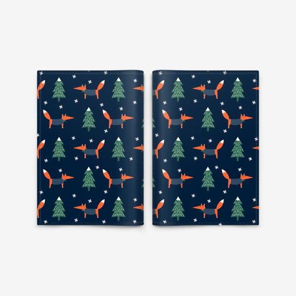 Обложка для паспорта «лис в зимнем лесу»