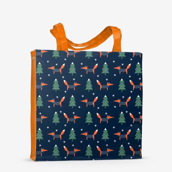 Сумка-шоппер «лис в зимнем лесу»