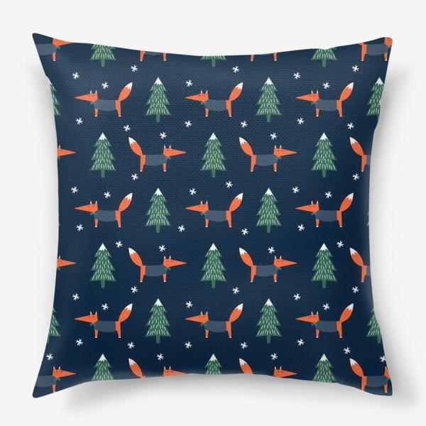 Подушка «лис в зимнем лесу»