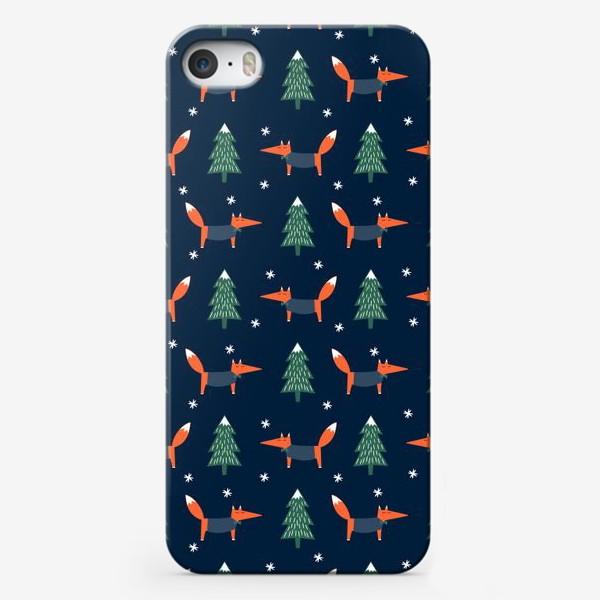 Чехол iPhone «лис в зимнем лесу»