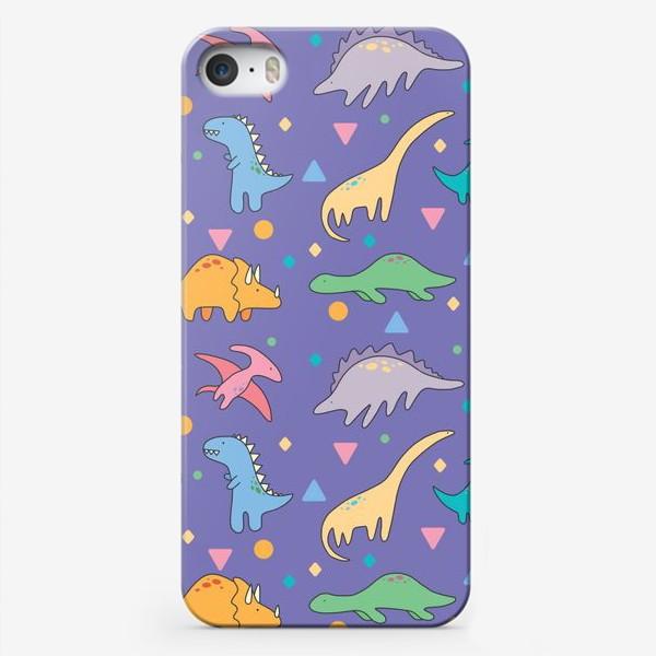 Чехол iPhone «Динозавры фиолет»
