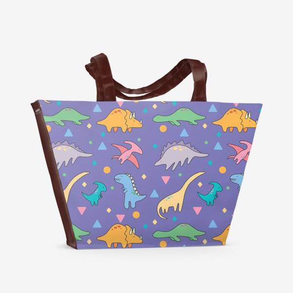 Пляжная сумка «Динозавры фиолет»