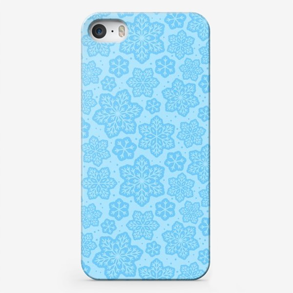 Чехол iPhone «Голубой паттерн со снежинками »