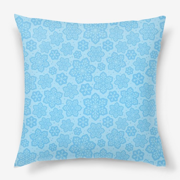 Подушка «Голубой паттерн со снежинками »
