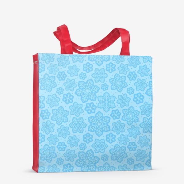 Сумка-шоппер «Голубой паттерн со снежинками »