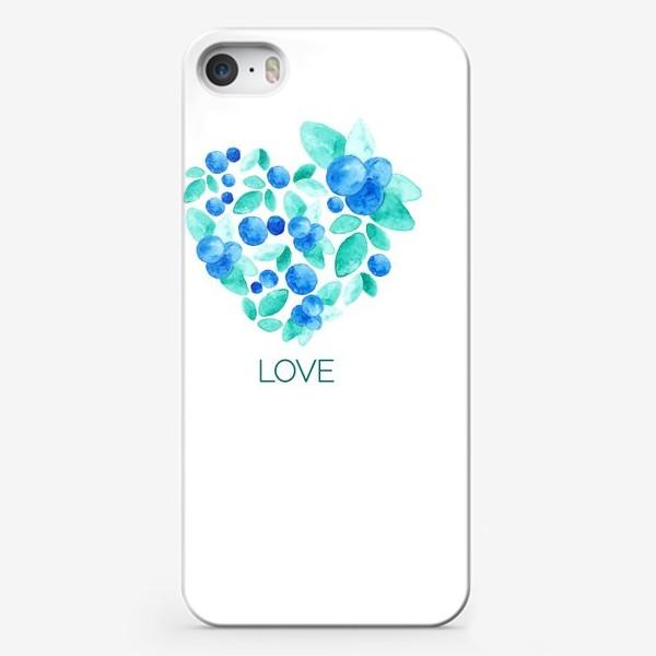 Чехол iPhone «Сердце из листьев и ягод голубики»