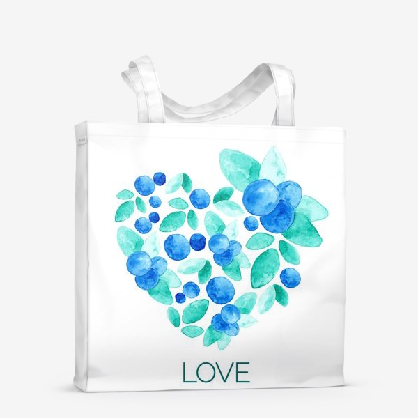 Сумка-шоппер «Сердце из листьев и ягод голубики»