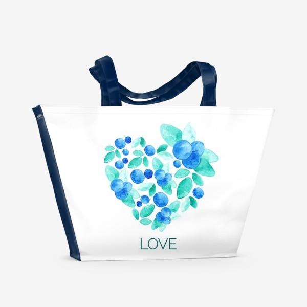 Пляжная сумка «Сердце из листьев и ягод голубики»