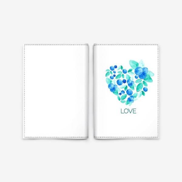 Обложка для паспорта «Сердце из листьев и ягод голубики»