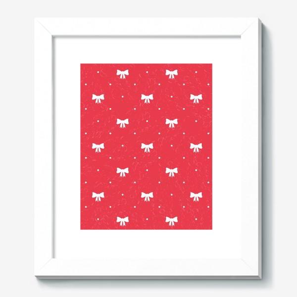 Картина «Красный рождественский паттерн с бантами»