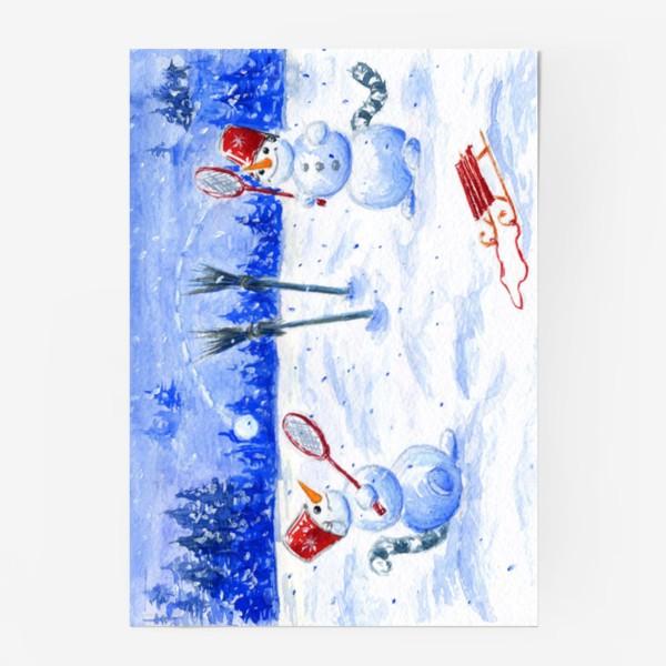 Постер «Все мы, немножко, кошки. Два снеговика.»