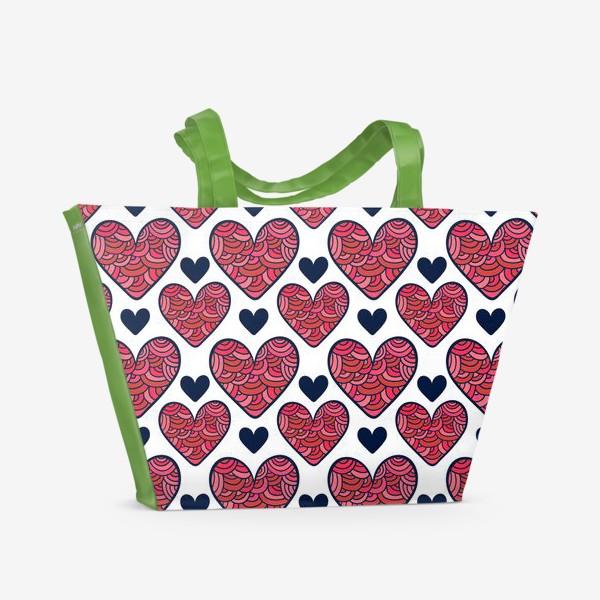 Пляжная сумка «Сердечки»