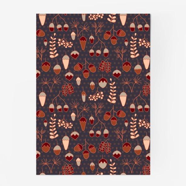 Постер «Желуди, ягоды, листья. Теплые, коричневые тона»