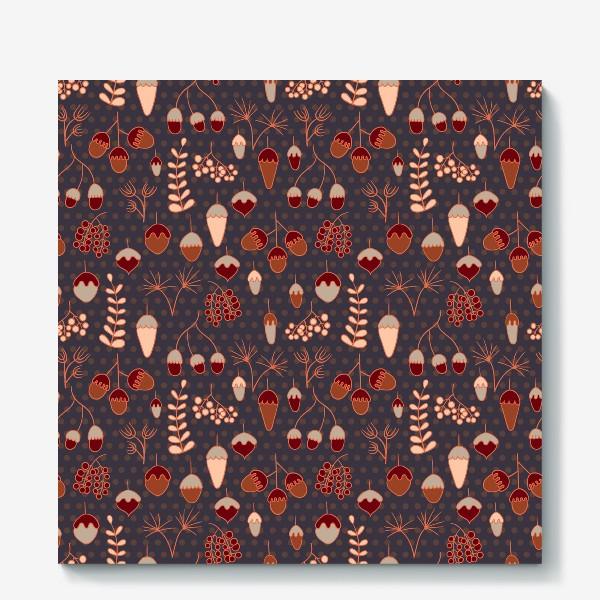 Холст «Желуди, ягоды, листья. Теплые, коричневые тона»