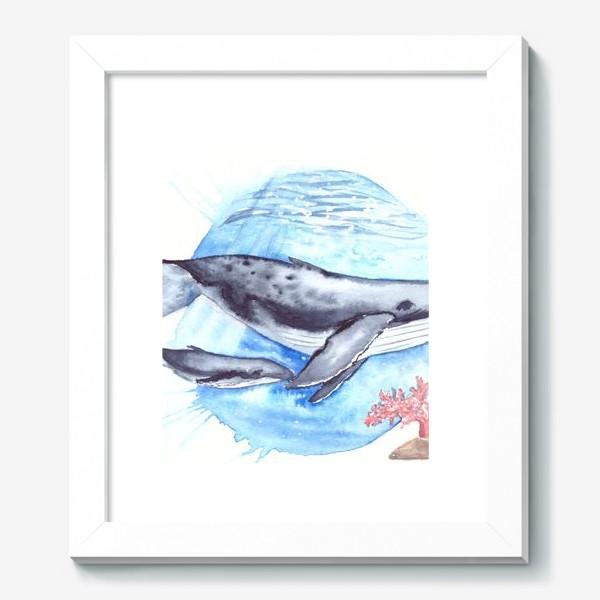 Картина «Кит с китенком на фоне круга море и коралл»