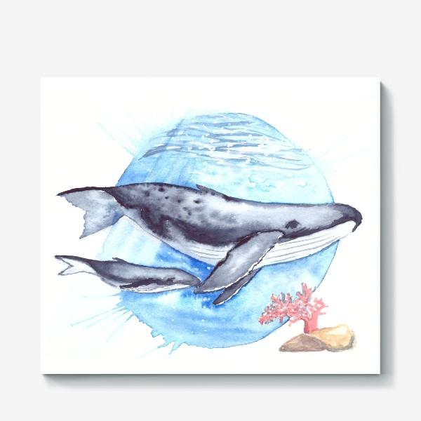 Холст «Кит с китенком на фоне круга море и коралл»