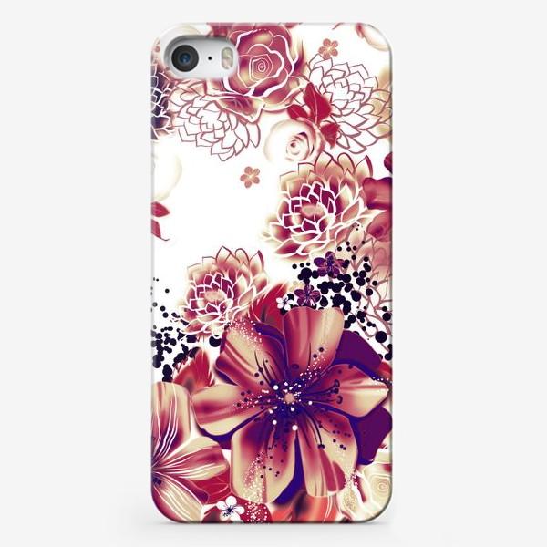 Чехол iPhone «Ромашки и розы, паттерн»