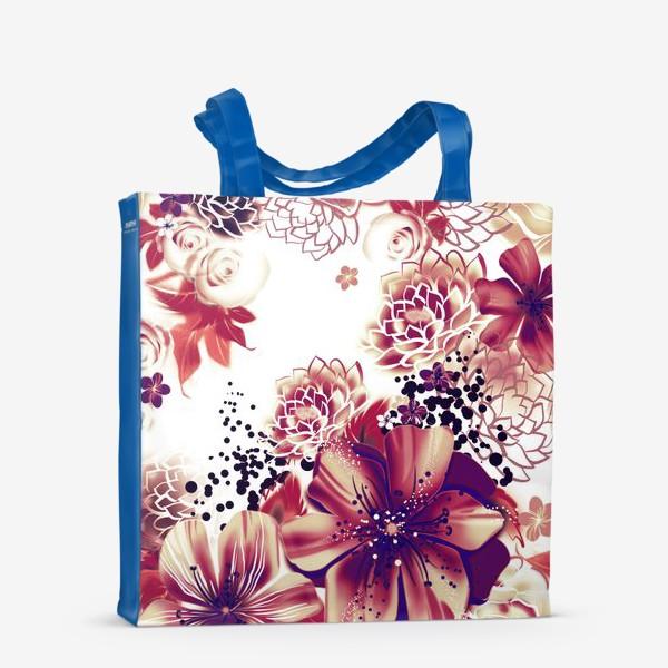 Сумка-шоппер «Ромашки и розы, паттерн»
