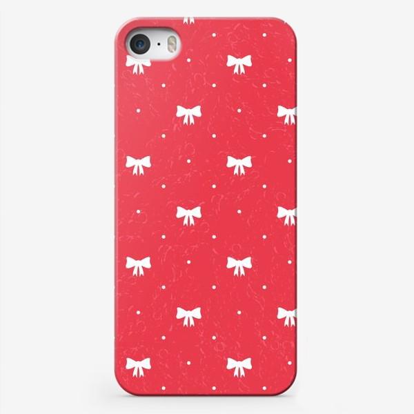 Чехол iPhone «Красный рождественский паттерн с бантами»