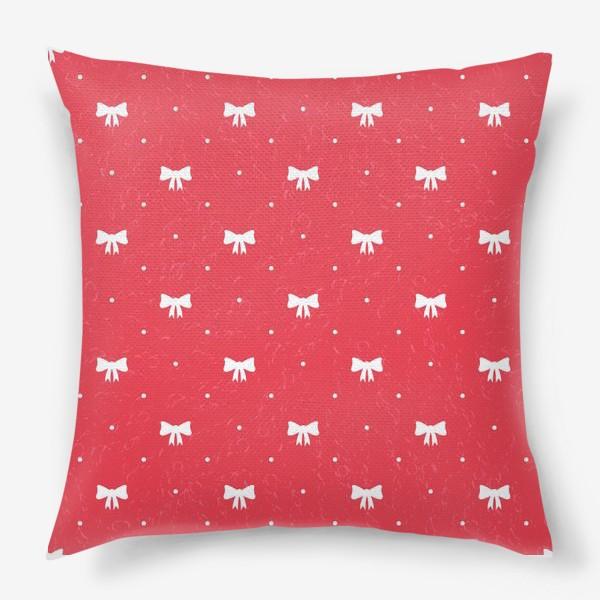 Подушка «Красный рождественский паттерн с бантами»