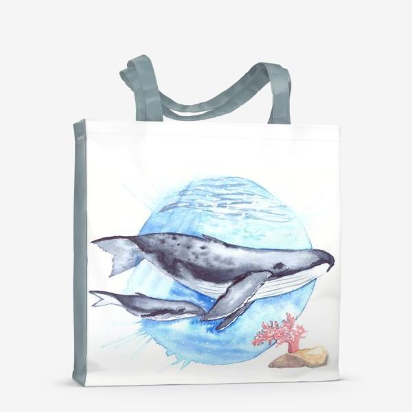 Сумка-шоппер «Кит с китенком на фоне круга море и коралл»