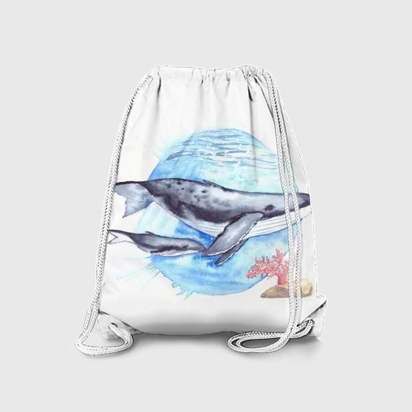 Рюкзак «Кит с китенком на фоне круга море и коралл»