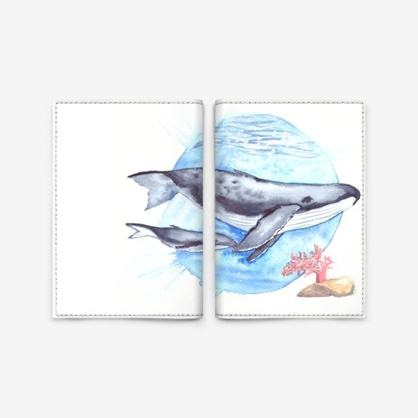 Обложка для паспорта «Кит с китенком на фоне круга море и коралл»