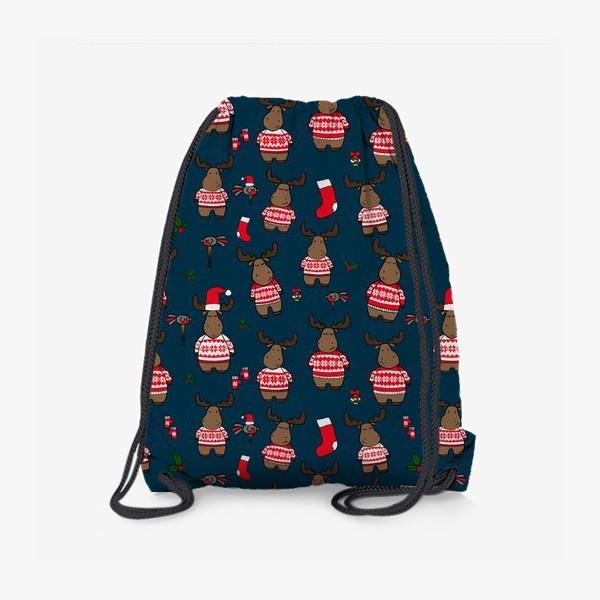 Рюкзак «Новогодний паттерн с лосями и снегирями»