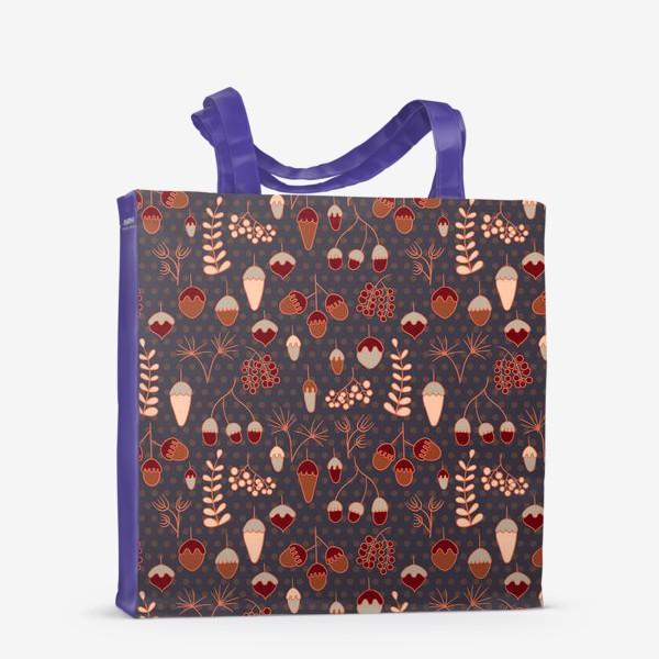 Сумка-шоппер «Желуди, ягоды, листья. Теплые, коричневые тона»