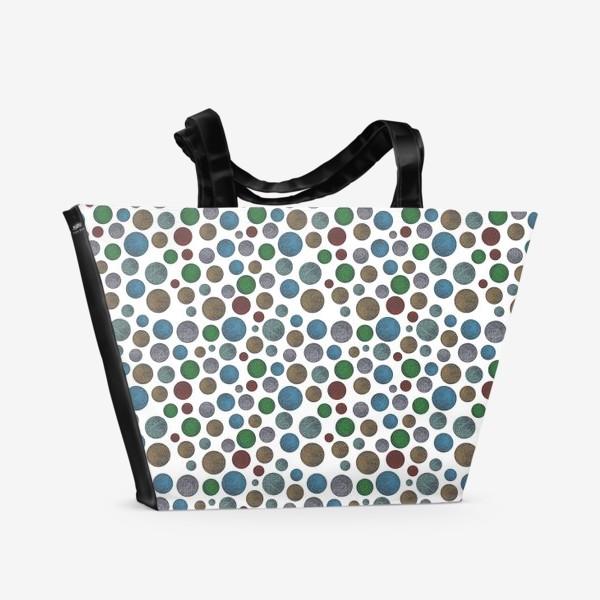 Пляжная сумка «Горошек на белом»