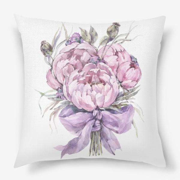 Подушка «Букет нежно-розовых пионов»