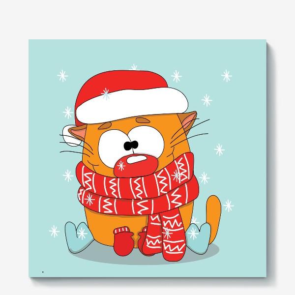 Холст «Котик в шарфе»