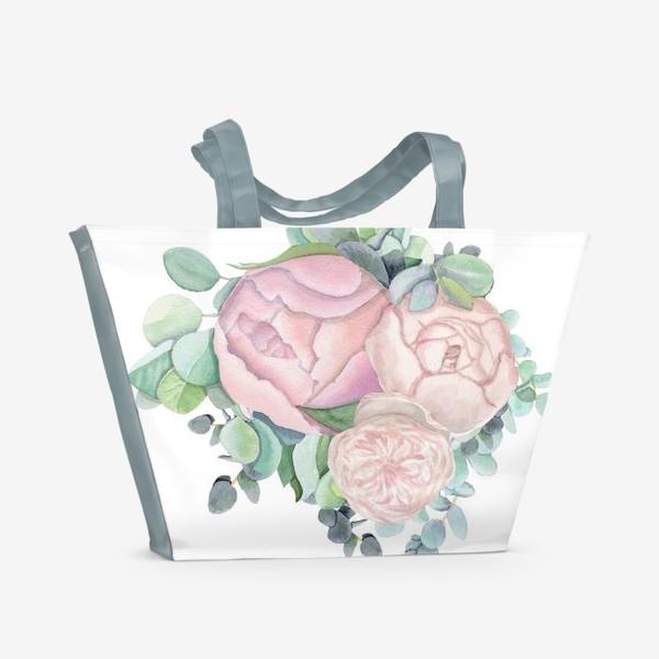 Пляжная сумка «Пионы и эвкалипт »