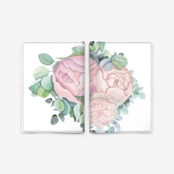 Обложка для паспорта «Пионы и эвкалипт »