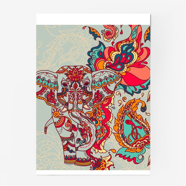 Постер «Индийский слон и яркий орнамент»