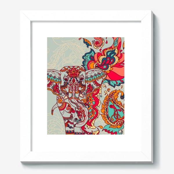 Картина «Индийский слон и яркий орнамент»