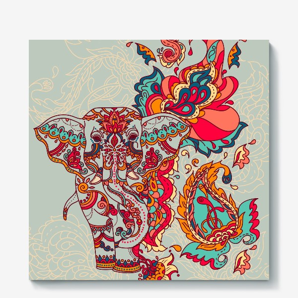 Холст «Индийский слон и яркий орнамент»