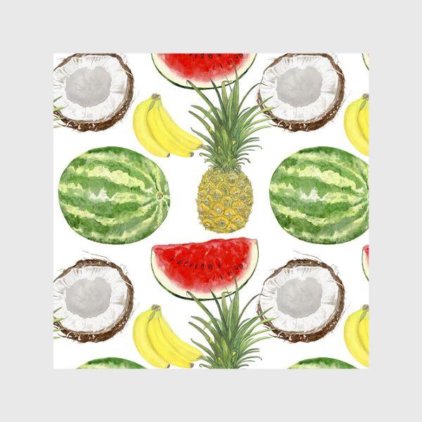 Шторы «Фрукты . Ананас,арбуз,банан,кокос»