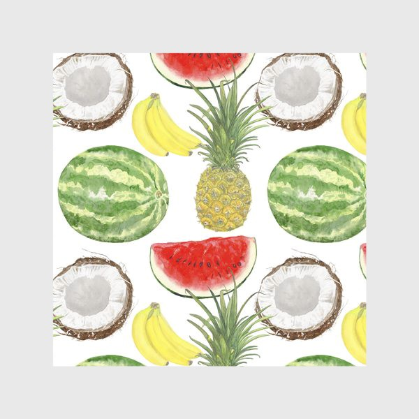 Скатерть «Фрукты . Ананас,арбуз,банан,кокос»